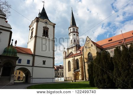 Levoca PRESOV SLOVAKIA -MAY 01 2014: Old historic building and church on the central square in Levoca Slovakia.