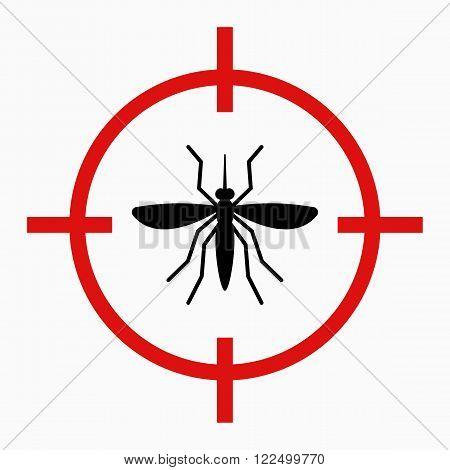 Zika virus alert, red crosshair, target mosquito, danger for pregnant
