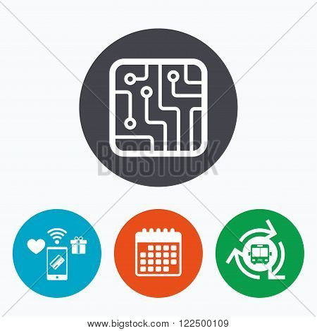 Circuit board sign icon. Technology scheme square symbol. Mobile payments, calendar and wifi icons. Bus shuttle.