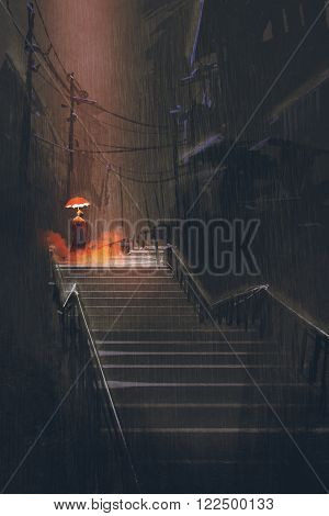 man with lights umbrella standing on stair in the night rain, illustration painting