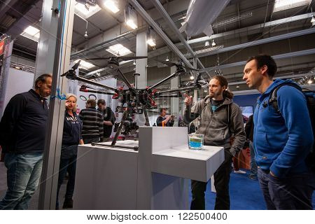 HANNOVER, GERMANY - MARCH 14, 2016: Drone displayed at CeBIT information technology trade show in Hannover, Germany on March 14, 2016.