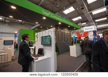 HANNOVER GERMANY - MARCH 14 2016: Booth of Sage company at CeBIT information technology trade show in Hannover Germany on March 14 2016.
