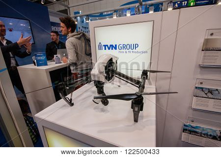 HANNOVER GERMANY - MARCH 14 2016: TVN drone displayed at CeBIT information technology trade show in Hannover Germany on March 14 2016.