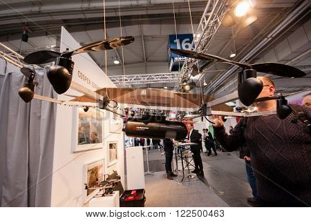 HANNOVER, GERMANY - MARCH 14, 2016: Drone equipped with Routescene UAV LidarPod survey module displayed at CeBIT information technology trade show in Hannover, Germany on March 14, 2016.