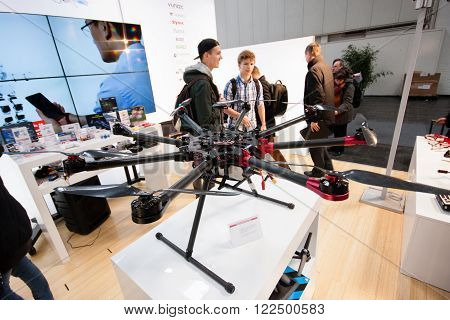 HANNOVER GERMANY - MARCH 14 2016: Drone displayed at CeBIT information technology trade show in Hannover Germany on March 14 2016.