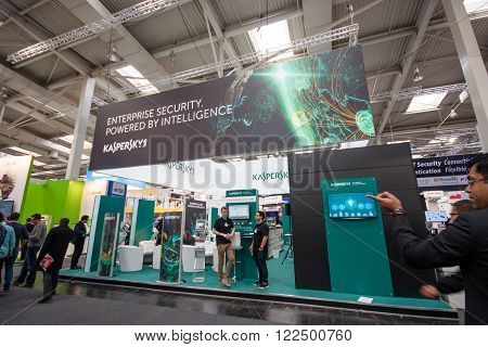 HANNOVER GERMANY - MARCH 14 2016: Booth of Kaspersky Lab company at CeBIT information technology trade show in Hannover Germany on March 14 2016.