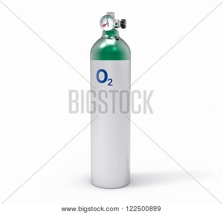 3D Isolated Oxygen Tank. Hospital equipment illustration.