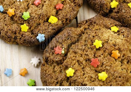 Oatmeal cookies with a beautiful multi-colored strews. Close-up.