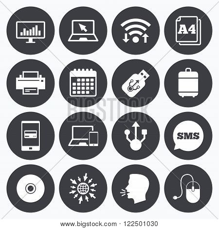 Wifi, calendar and mobile payments. Computer devices icons. Printer, laptop signs. Smartphone, monitor and usb symbols. Sms speech bubble, go to web symbols.