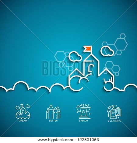 Vector banner with a picture of white flat line symbol dream as cloud-castle on blue background.
