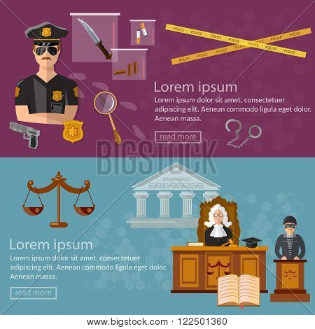 Justice system banner crime and punishment illustration