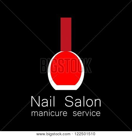 Nail Salon logo.  Vector nail polish logo. Symbol of manicure. Design sign nail care. Beauty industry, nail salon, manicure service, spa boutique, cosmetic products. Vector illustration.