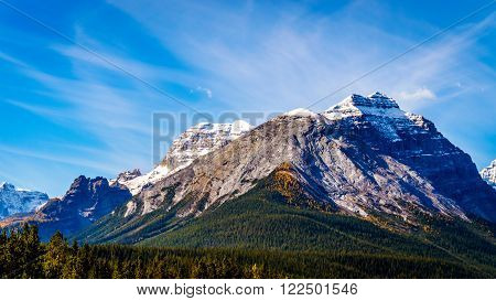 Snow capped peak of Cathedral Mountain in Yoho National Park in the Canadian Rocky Mountains