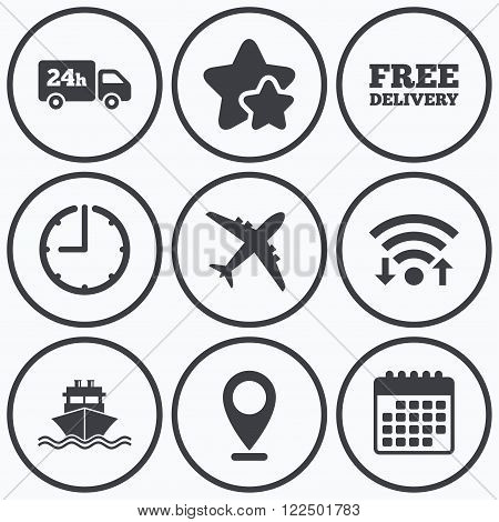 Clock, wifi and stars icons. Cargo truck and shipping icons. Shipping and free delivery signs. Transport symbols. 24h service. Calendar symbol.