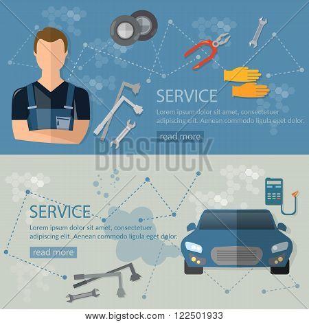 Auto repair auto mechanic car repair banners