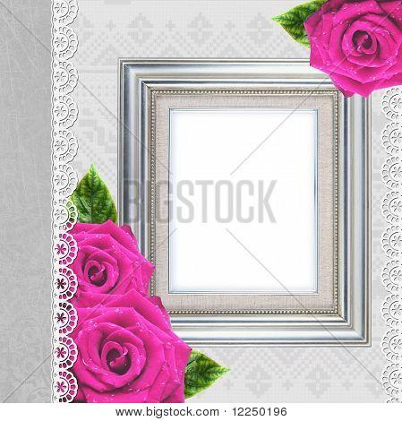 Vintage Elegant Frame With Rose
