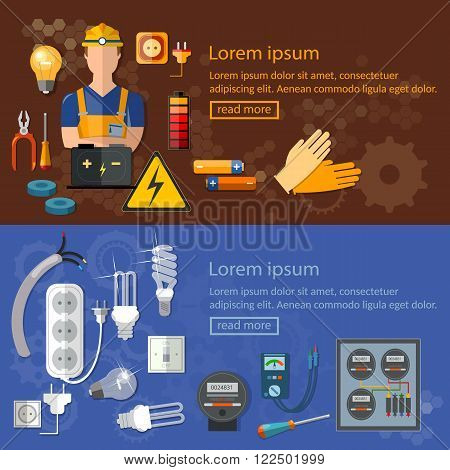 Professional electrician electricity banners electric tools and equipments