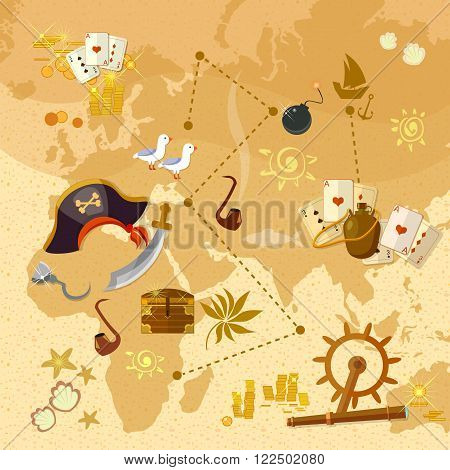 Pirate treasure map sea adventures set vector