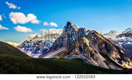 Mount Babel or the Tower of Babel with its sharp and dominant peak in Banff National Park in the Canadian Rocky Mountains