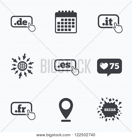Calendar, like counter and go to web icons. Top-level internet domain icons. De, It, Es and Fr symbols with hand pointer. Unique national DNS names. Location pointer.
