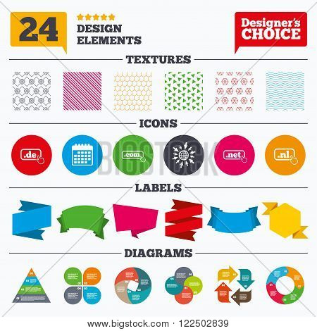 Banner tags, stickers and chart graph. Top-level internet domain icons. De, Com, Net and Nl symbols with hand pointer. Unique national DNS names. Linear patterns and textures.