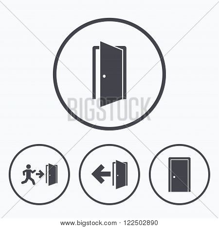 Doors icons. Emergency exit with human figure and arrow symbols. Fire exit signs. Icons in circles.