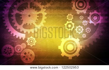 Abstract colorful background with cog wheels and lights