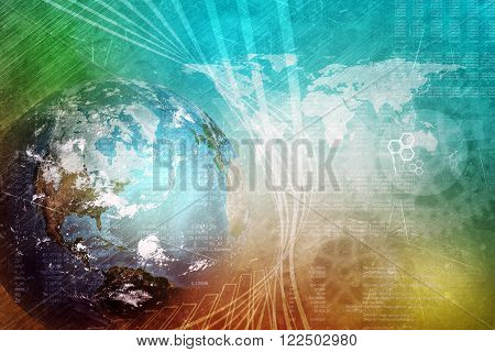 Earth globe with world map, technology concept. Elements of this image furnished by NASA