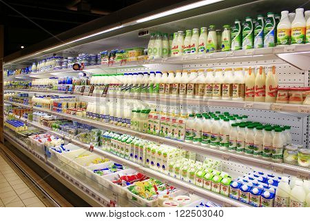 Chernihiv  Ukraine- 06 March 2016 : yogurts and others dairy produce on the shelves of shop in Chernihiv. Goods produced by Ukrainian producers. 06 March 2016 in Chernihiv / Ukraine.