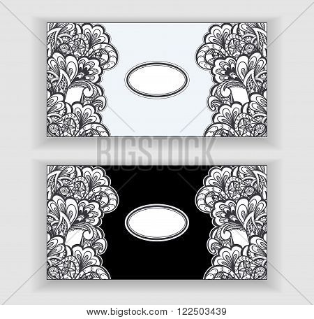 Zen-doodle or Zen-tangle banners or label or frames for decorate package clothes or different things