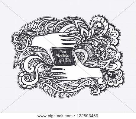 Zen-doodle or Zen-tangle concept viewfinder in the form of  hands black on white for coloring page or relax coloring book or wallpaper or for decorate package clothes or different things