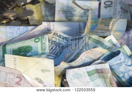 Foreign Money Collage Background. Bank Notes From Different Countries