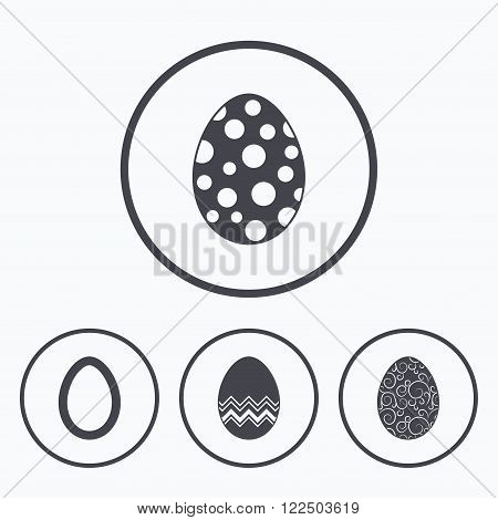 Easter eggs icons. Circles and floral patterns symbols. Tradition Pasch signs. Icons in circles.