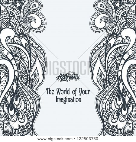 Zen-doodle or Zen-tangle template  black on white for coloring page or relax coloring book or wallpaper or for decorate package clothes or different things