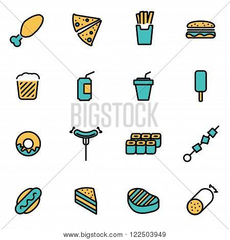 Trendy flat line icon pack for designers and developers. Vector line fastfood icon set