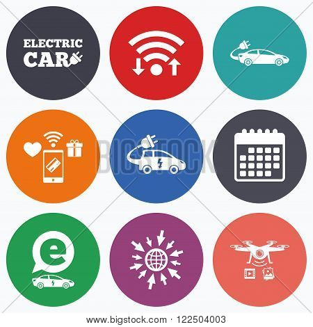 Wifi, mobile payments and drones icons. Electric car icons. Sedan and Hatchback transport symbols. Eco fuel vehicles signs. Calendar symbol.