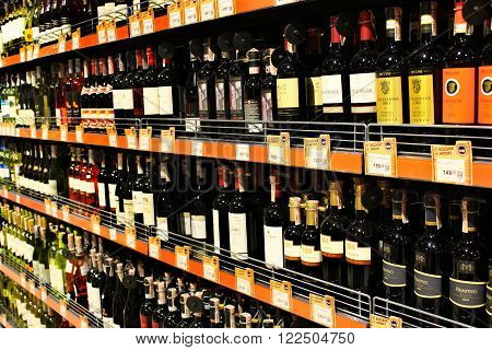 Chernihiv  Ukraine. 06 March 2016 :wine shop with a wide selection of goods in supermarket.  06 March 2016 in Chernihiv / Ukraine.