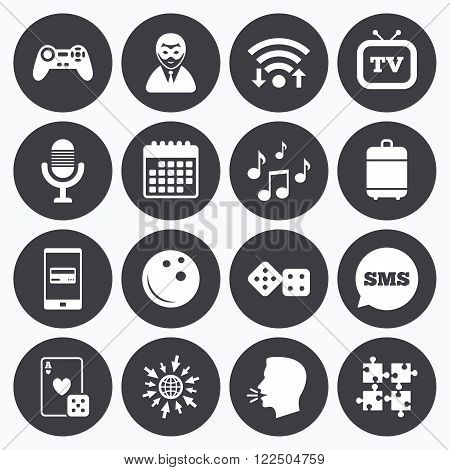 Wifi, calendar and mobile payments. Entertainment icons. Game, bowling and puzzle signs. Casino, carnival and musical note symbols. Sms speech bubble, go to web symbols.