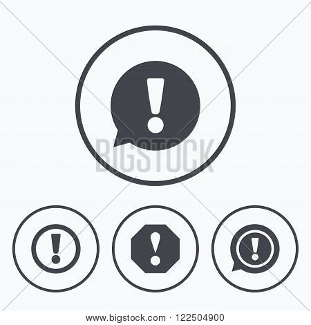 Attention icons. Exclamation speech bubble symbols. Caution signs. Icons in circles.
