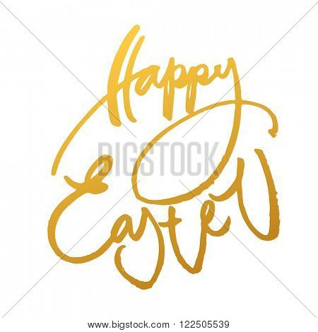 Happy easter. Easter lettering. Gold inscription on a white background. Easter illustration. Handwriting calligraphy inscription.
