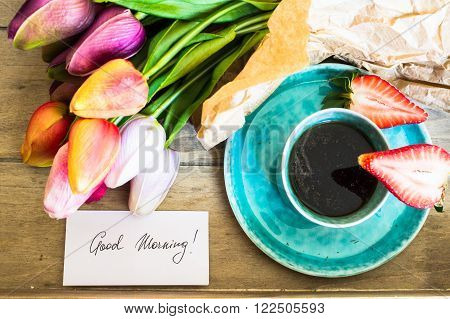 Tulips, Coffee And Fresh Strawberries