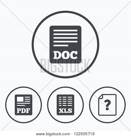 File document and question icons. XLS, PDF and DOC file symbols. Download or save doc signs. Icons in circles.