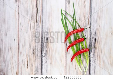 Red chili pepper and and green scallions