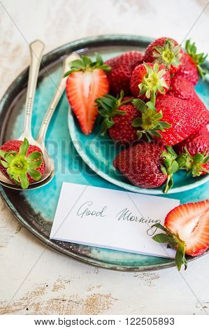 Fresh Strawberries And Good Moring Note