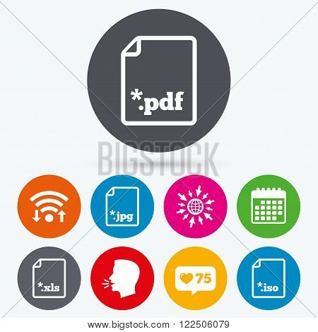 Wifi, like counter and calendar icons. Download document icons. File extensions symbols. PDF, XLS, JPG and ISO virtual drive signs. Human talk, go to web.