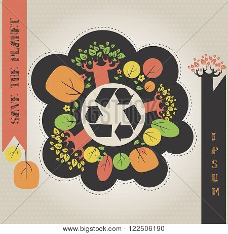 Conceptual ecological illustration with colored plants and recycle icon