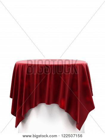 Red Velvet Cloth On A Round Pedestal Isolated On White