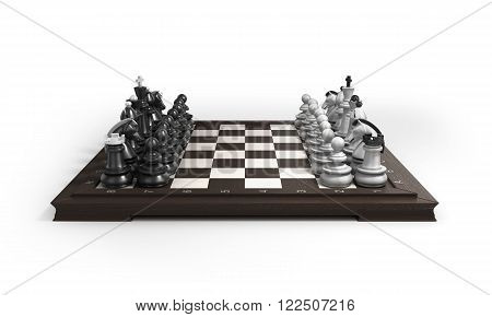 Wooden Chess Laid In The Original Position On The Chessboard Isolated On White Background