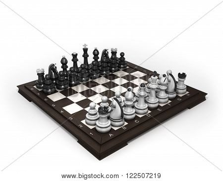 Wooden Chess Laid In The Original Position On The Chessboard Isolated On White