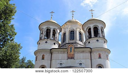 ZVENIGOROD, RUSSIA - JUNE 20, 2012: Domes of Christian church of the Ascension in Zvenigorod Russia on a sunny day